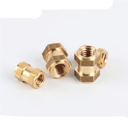 Injection Molded Brass Insert Through Thread cross Knurled Copper Inserts Nut